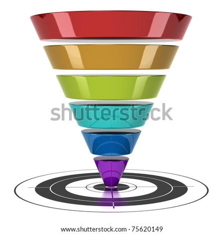 conversion funnel over a white background with a target
