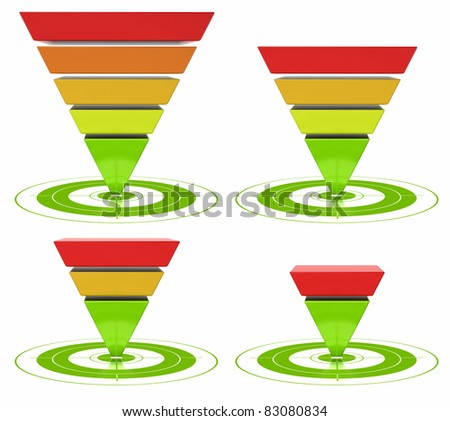 conversion funnel with customizable inverted pyramid over a white background