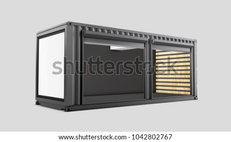 Converted old shipping container, 3d Illustration isolated white.