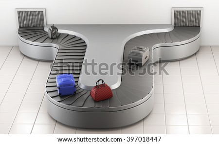 Conveyer belt at the airport. Baggage claim. 3d rendering.