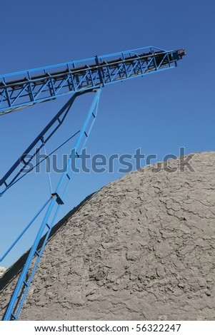 Conveyor belt on the blue sky