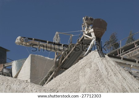 Conveyor on site at gravel pit - Portugal - Europe