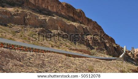 Conveyor system at an old gypsum mine