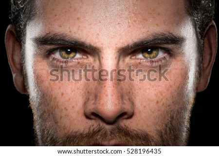 Conviction focused determined passionate confident powerful eyes stare intense athlete exercise trainer male  - Shutterstock ID 528196435