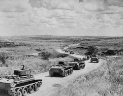 Convoy of Soviet (Russian) tanks in Romania during the annexation of Bessarabia, Romania, in 1940.
