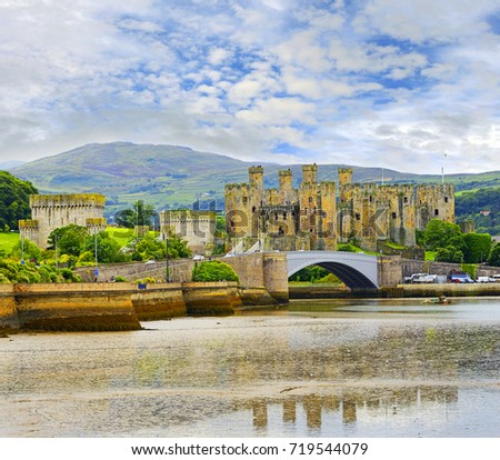 Conwy Castle, North Wales, UK. It belongs among Castles and Town Walls of King Edward in Gwynedd - UNESCO World Heritage site.