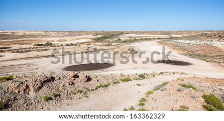 Coober Pedy golf courrse arid lunar landscape, Mad Max filmed here, tees are oiled sand Stock fotó ©