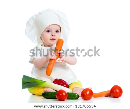 cook baby girl isolated on white
