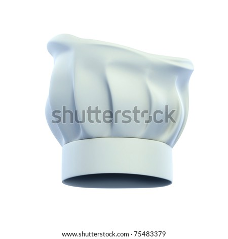 cook cap, chef's hat isolated on the white background 3d illustration