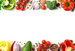 Cook frame with fresh vegetables on white background. Organic raw salad ingredients. Flat lay, copyspace, top view.
