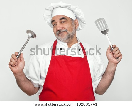cook in red apron