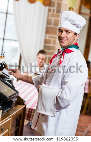cook inserts the card into a computer terminal, against visiting the restaurant