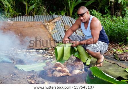 cook islands earth oven  umu ...