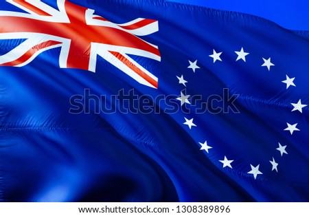 Cook islands flag. 3D Waving flag design. The national symbol of Cook islands, 3D rendering. National colors and National flag of Cook islands for a background. Oceania sign on smooth silk