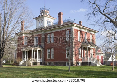 Cook-Rutledge red brick historic mansion in Chippewa Falls Wisconsin of the High Victorian Italianate architectural style