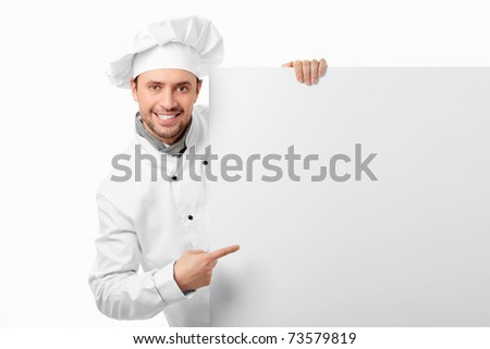 Cook showed to an empty board on a white background