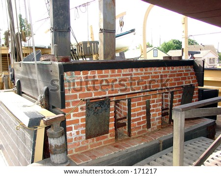 Cook stove for blubber on whaling ship