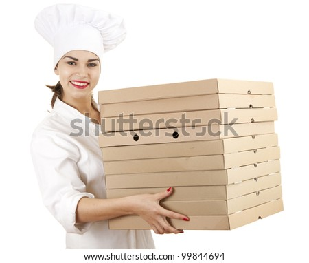 cook woman in white uniform and hat with boxes of pizza, white background