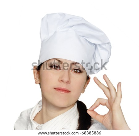 Cook woman isolated on white background