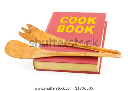 Cookbook and kitchenware, isolated on white background