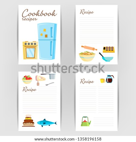 Cookbook . Recipe Kitchen Cookbook Card Page. Blank For Text. Illustration