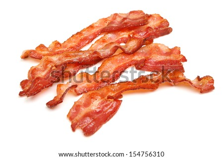 Cooked bacon rashers isolated on white. - stock photo
