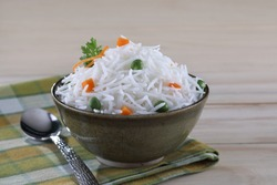 Cooked Basmati rice in a bowl. Indian Basmati are known for their aroma and freshness.