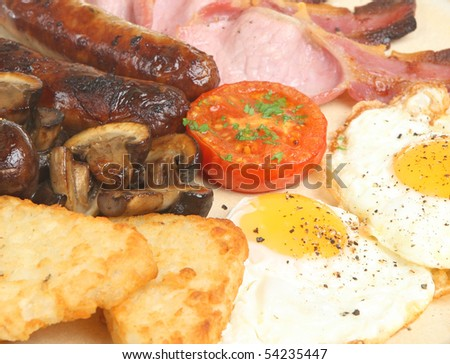Cooked breakfast with hash browns,