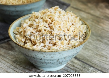 Cooked brown Basmati rice in a bowl, selective focus