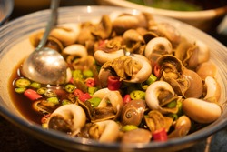 Cooked conch salad, a local delicacy in Wei'hai, a city along the coast of the Bo'hai Gulf in Shan'dong province, China.