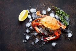 Cooked crab on a stone or slate background. Flat lay. Top view with copy space.
