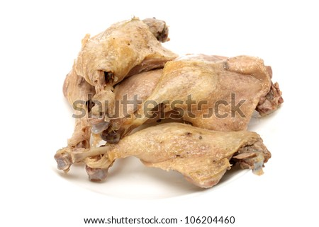 cooked duck legs on the white background