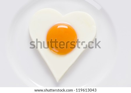 cooked egg sunny side up on a white plate view from above