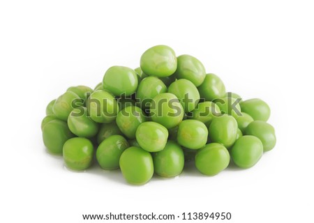 cooked green peas on white