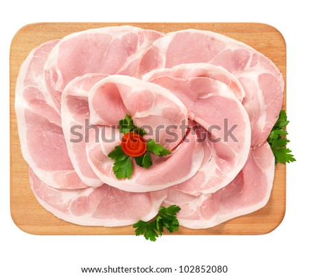 Cooked ham, Italian cold cut, on wooden board