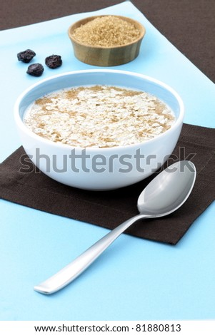cooked  healthy oat meal with  cinamon, delicious and important part of your daily nutrition plan to prevent high cholesterol and heart dideases