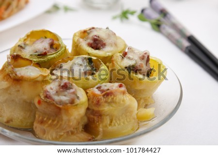 Cooked marrow rolls with meat