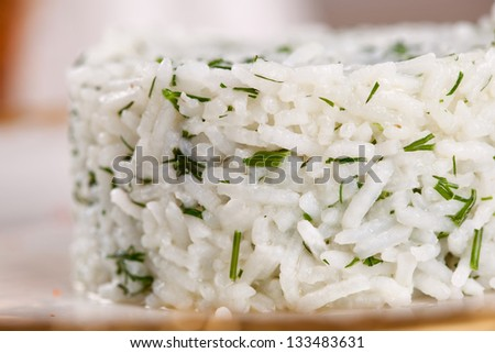 Cooked rice with herbs