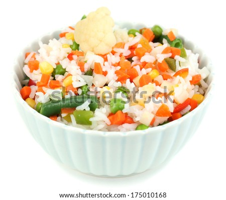 Cooked rice with vegetables isolated on white