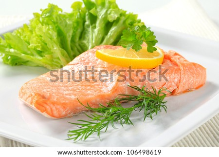 Cooked salmon fillet - stock photo