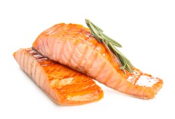 Cooked salmon fillet on white background