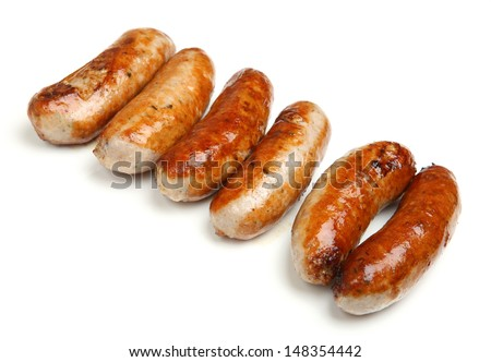 Cooked sausages arranged in a row,