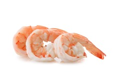 Cooked shrimp isolated on white background. This has clipping path.