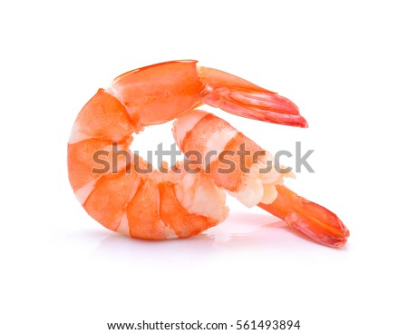 Shutterstock Cooked shrimps isolated on white background.