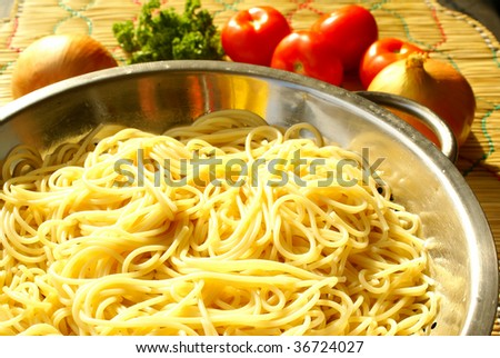 Cooked spaghetti - stock photo