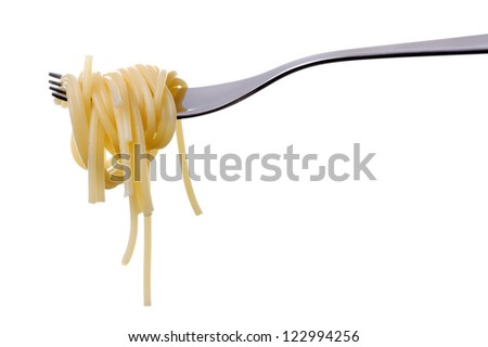 cooked spaghetti pasta on a fork against white