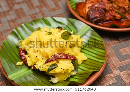b061fe737a Cooked tapioca/cassava/mandioca/aipim with grated coconut popular  traditional South Indian food