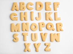 Cookie alphabet on white background