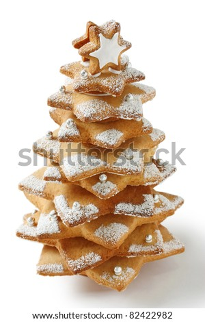 cookie christmas tree made by star cookie cutter ,  on white background