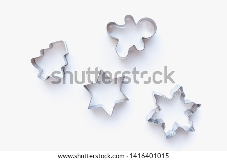 cookie cutters for homemade cookies, cookie cutters, cookie cutters on white background Photo stock ©